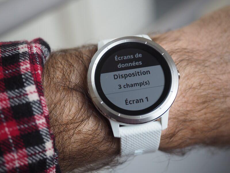 montre Garmin Vivoactive 3 - param ecran